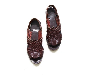 Vintage Leather Sandals 9 / Oxblood Leather Huaraches / Woven Sandals