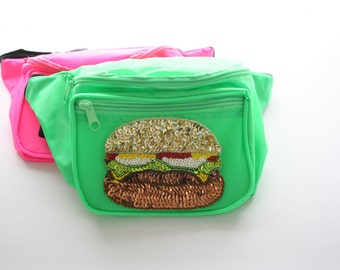 Neon Pink / Green Sequin Cheeseburger Fanny Pack