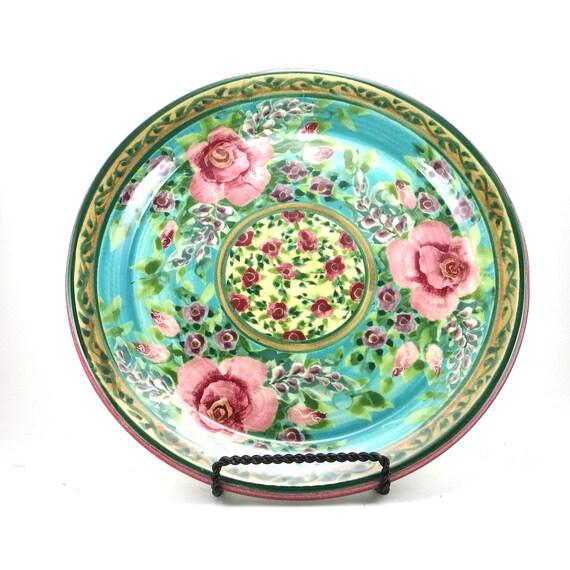 Pottery Dinnerware Handmade Ceramic Plate With Blue