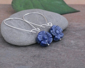 Earrings Carved Blue Sodalite Flower Earrings, Simple Everyday Earrings, Stone Dangle Earrings, Blue Stone Earrings