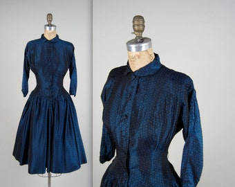 1950s JONATHAN LOGAN dress • vintage 50s dress • polka dot evening dress