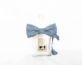Frankie - Blue/White Crosshatch Men's Pre-Tied Bow Tie Or Self-Tied Bow Tie