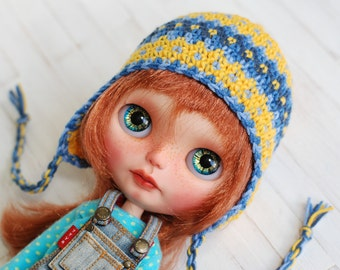 Hat Crochet for Blythe Yellow Blue Navy Sweet Colorful