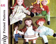 60s Retro Stuffed Dolls Pattern Simplicity 5714 Happy Sleeping Sad Boy Girl Dolls with Clothes Vintage Sewing Pattern
