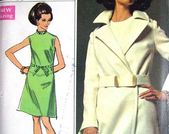 Simplicity 8096 60s Designer Wrap Coat & Shift Dress Pattern 70s Vintage Pattern Size 14 Waist 28 inches UNCUT Factory Folds NO ENVELOPE
