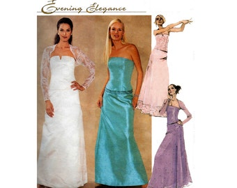 McCall's 3056 Evening Prom Bustier Maxi Skirt & Shrug Sewing Pattern Cocktail Bridesmaids Formal Size 8 10 12 UNCUT Factory Folds