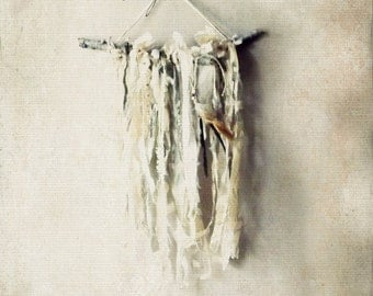 Tribal Woodland Rustic Boho Dream Catcher. Bohemian Rustic Branch©Garland. Shabby Chic Cottage Wall Decor.Photo Props