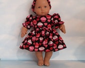 15 inch doll clothes - Cupcake Valentine Outfit made to fit the Bitty Baby doll - FREE SHIPPING