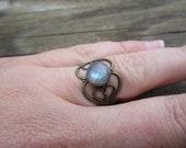 Faceted Boho Labradorite Ring Adjustable Brass
