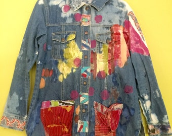 Hand painted sea nymph distressed embellished upcycled denim jacket fits size M L