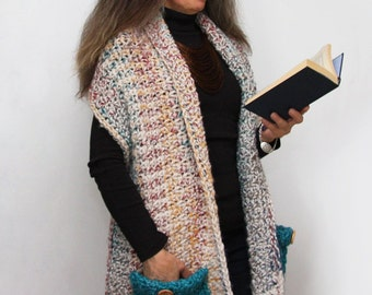 Reader's Wrap Crochet PATTERN / Pocket Shawl / PDF / Made in Canada