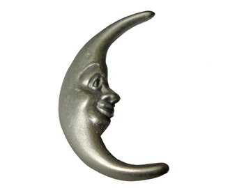 HAPPY CRESCENT MOON lapel vintage pin brooch Animorphic