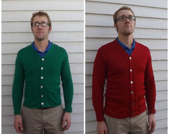 40s Mens Wool Sweater Cardigan 1940s Red or Green Revere Vintage S M