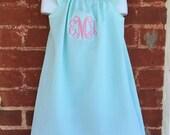 Girls' Personalized Mint Seersucker flutter Sleeve Peasant Dress