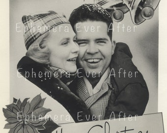Vintage Christmas photo - DIGITAL DOWNLOAD - 1950s cool couple Merry Christmas photo greeting - 2 versions - print instantly
