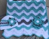 Chevron Baby Blanket and Baby Shower Gift Set Aqua Gray