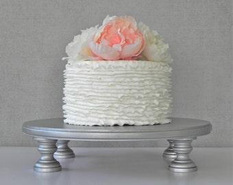 "Silver Cake Stand 16"" Wedding Cupcake Stand Silver Cake Topper Vintage Wedding Decor E. Isabella Designs Featured In Martha Stewart Wedding"