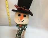 Snowman with Top Hat on Vintage Bed Spring