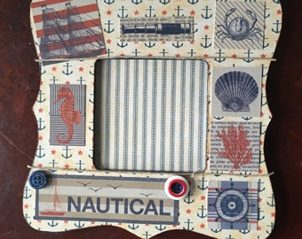 Nautical Themed Decoupaged Picture Frame