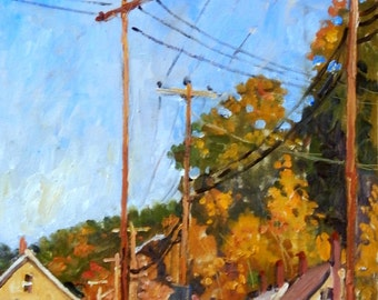 Mill Houses and Poles, October in North Adams. Impressionist Oil, 20x10 Plein Air Autumn Fall Landscape Painting, Signed Original Fine Art