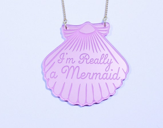 Mermaid Style. Pink Mermaid Necklace. Mermaid Jewelry. gifts for her. gifts for mermaids. Im really a mermaid necklace. little mermaid