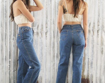 SALE / Vintage 70's h.i.s. Jeans / Straight Leg High Waist Denim / Women 26 x 32