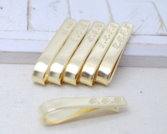 Groomsmen Set Brass Tie Clips Short - Wedding Bridal Jewelry Sets - Best Man Father of the Bride/Groom Groomsman Keepsake - Gifts For Him