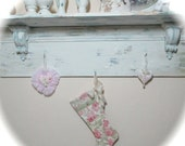 Pink and Green Rose Christmas Stocking Shabby Chic Cottage Baby's First Christmas Little Girl