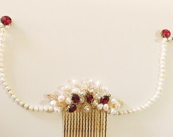 Cranberry hair comb, Gold and Pearls Bridal Hair comb, headpiece, Handmade weddings OOAK Pantone Marsala Boho