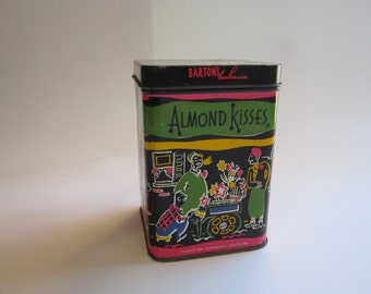 vintage candy tin - ALMOND KISSES - Barton's bonbonniere tin