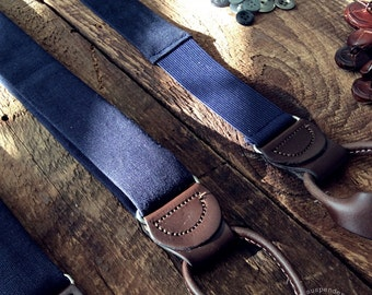 n a v y . linen | leather button-on suspenders