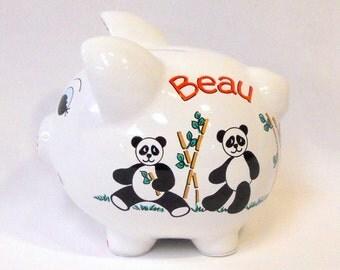 Personalized Piggy Bank Panda Bears