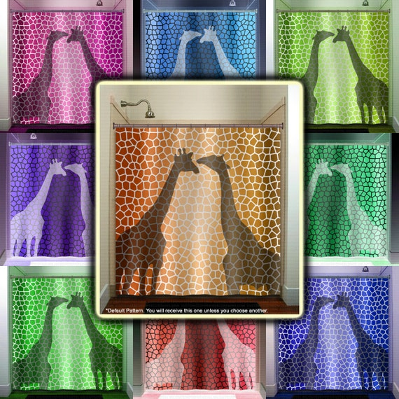 Pattern giraffe shower curtain bathroom decor fabric kids bath for Fabrics for children s curtains