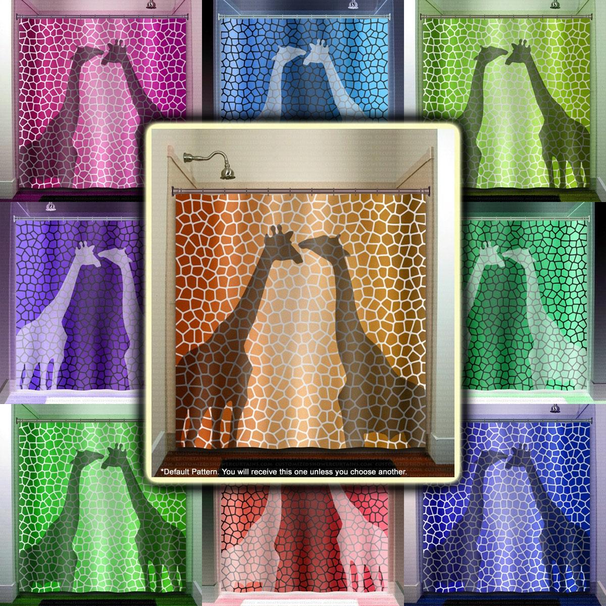 Pattern Giraffe Shower Curtain Bathroom Decor Fabric Kids Bath