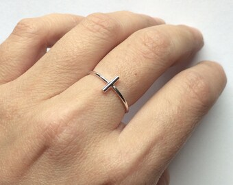 Bar ring - Minimalist sterling silver bar ring - knuckle ring - midi ring