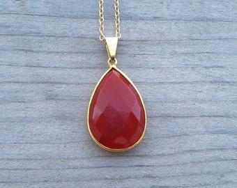 Carnelian Necklace Bezel Set In 24 K Gold Vermeil, Red Carnelian Pendant, Large Natural Stone, Carnelian Jewelry