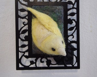 Canary - Needle felted wool bird sculpture in a frame