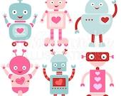 Valentine Robots Cute Digital Clipart for Card Design, Scrapbooking, and Web Design, Valentine Clip art