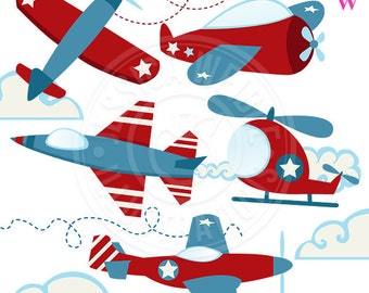 Patriotic Planes Cute Digital Clipart - Airplane Clip Art - Airplane Graphics - Images of Planes - Red Airplane - Jet Plane - Helicopter