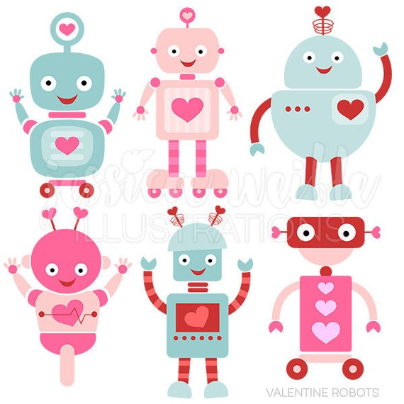 Valentine Robots Cute Digital Clipart for Card Design, Scrapbooking, and Web Design, Valentine Clip art