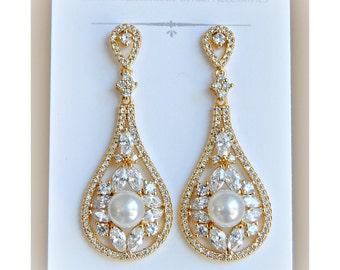 Gold Crystal and Swarovski Pearl Earrings, Silver Crystal Bridal Earrings, Pearl Bridal Earrings, Vintage Style, Art Deco - MORGAN