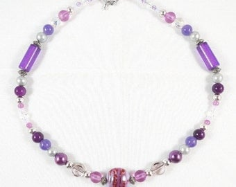 Pink and Purple Necklace with Handmade Lampwork Bead