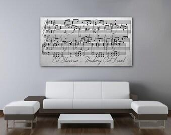 Ed Sheeran, Thinking Out Loud, Sheet Music Wall Art, Sheet Music Print, Sheet Music Framed on Canvas