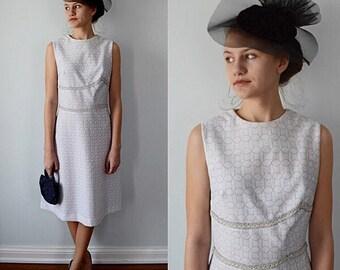 Vintage 1960s Heathnit White with Silver Sleeveless Dress, Dinner Evening Dress, Party Dress, 1960s Dress, White Dress, Dress