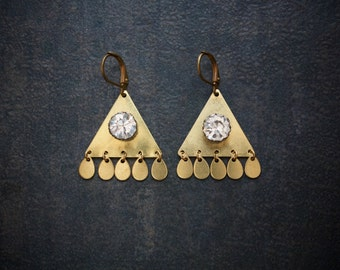 Raw Brass Geometric Earrings with Rhinestone Solitaire and Paddle Dangles