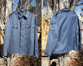 1990's Mens Shirt Blue Military Epalades Gray Lightweight Jacket Urban Indie Large Leisure Suit Look