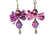 Bow Earrings, Purple Dangle Earrings,  Cute, Fun and Funky Jewelry
