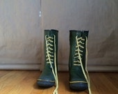 vintage 1970's green rubber rain/ snow boots work boot / insulated/  waterproof
