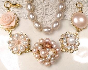 Blush Pink, Ivory Pearl & Rhinestone Gold Bridal Bracelet, OOAK Vintage Wedding Cluster Earring Bracelet, Bridesmaid Jewelry Gift 1950 1960