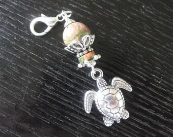 Unakite & Turtle Purse Charm Zipper Pull